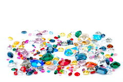 Bright gems isolated on white background Royalty Free Stock Photography