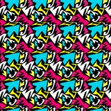 Bright geometric colored seamless pattern in graffiti style for your design qualitative vector illustration Royalty Free Stock Image