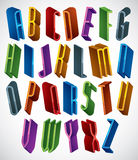 Bright geometric expressive triple font. Stock Photo