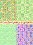 4 bright geometric patterns.Vector illustration. Set of 4 seamless geometric patterns Royalty Free Stock Photo