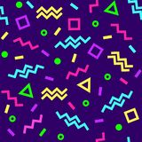 Bright geometric seamless pattern, memphis style, colorful shapes on dark purple background. Vector illustration royalty free illustration