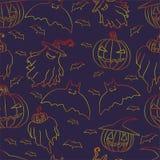 Bright ghosts hat pumpkins bats on a dark purple background. Halloween seamless pattern. Bright ghosts hat pumpkins bats on a dark purple background.Vector hand Royalty Free Stock Photos