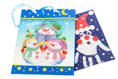 Bright gift bags isolated Stock Images