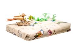 Gift box decorated with a wooden bird and bow isolated on white. Bright gift box decorated with a wooden bird and bow isolated on white Royalty Free Stock Image