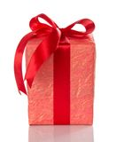 Bright gift box with red bow Royalty Free Stock Images
