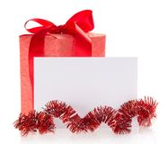 Bright gift box, tinsel and the empty card,. Isolated on white. See my other works in portfolio stock image