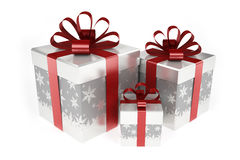 Bright gift boxes with red ribbon Royalty Free Stock Photography