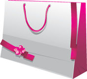 Bright gift paper bag with pink ribbons. Illustration Stock Photography