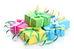 Bright gifts with bows Royalty Free Stock Images