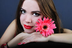 Bright girl with flower Stock Photography