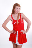 Bright girl in the red dress Royalty Free Stock Photography