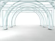 Bright glass corridor or tunnel. In 3D rendered perspective Royalty Free Stock Images