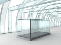 Bright glass corridor or tunnel with glass box for exibition in. 3D rendered perspective Stock Photo