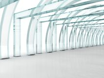 Bright glass corridor or tunnel in perspective. Bright glass corridor or tunnel in 3D rendered perspective Royalty Free Stock Image