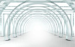 Bright glass corridor or tunnel in perspective. Bright glass corridor or tunnel in 3D rendered perspective Stock Photography