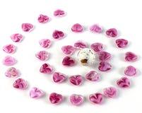 Bright glass hearts Stock Photo