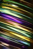 Bright glass stripes. Patio glass votive lantern Stock Photography