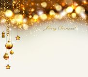 Bright glimmered Christmas background with gold evening balls. And baubles Royalty Free Stock Photography