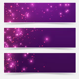 Bright glittering sparkle flare headers set Royalty Free Stock Image
