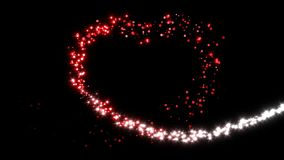 Bright glittery lights form a red heart  - loop