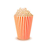 Bright glossy box of popcorn on white Royalty Free Stock Photography