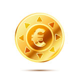 Bright glossy golden coin with euro sign on white Royalty Free Stock Images