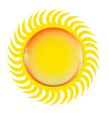 Bright glossy sun symbol, isolated on white Stock Photos