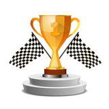 Bright glossy winner cup on pedestal with flags. Isolated on white Royalty Free Stock Images