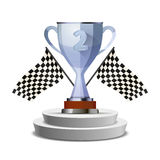 Bright glossy winner cup for second place on pedestal with flags Royalty Free Stock Images