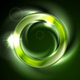 Bright glow green iridescent round logo Stock Photography