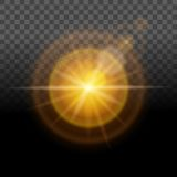 A bright glow, yellow light, transparent lens effect background. Easy to change the background. Vector illustration.  Royalty Free Stock Image