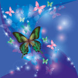 Bright glowing abstract background with butterflie Royalty Free Stock Image