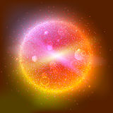 Bright glowing ball filled with particles and dust Stock Photos