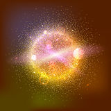Bright glowing ball filled with particles and dust. With shine and glow. The specks of light flying from the explosion Stock Image