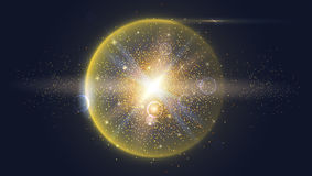 Bright glowing ball filled with particles and dust Royalty Free Stock Image