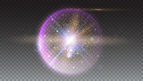 Bright glowing ball filled with particles and dust. With shine and glow. The specks of light flying from the explosion Royalty Free Stock Image