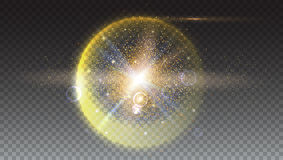 Bright glowing ball filled with particles and dust. With shine and glow. The specks of light flying from the explosion Royalty Free Stock Images