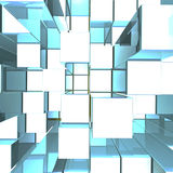 Bright Glowing Blue Metallic Background With Artistic Cubes Royalty Free Stock Photo