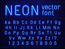Bright glowing blue neon alphabet letters and numbers font. Nightlife entertainments, modern bars, casino illuminated. Bright glowing blue neon alphabet letters royalty free illustration