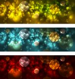 Bright glowing bokeh banners design Stock Images