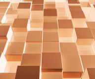 Bright Glowing Brown Glass Background With Artistic Cubes Or Squ Royalty Free Stock Image