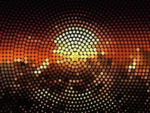 Bright glowing circles on dark background. Halftone effect. Abstract geometric pattern. Scalable vector graphics vector illustration