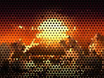 Bright glowing circles on dark background. Halftone effect. Abstract geometric pattern. Scalable vector graphics royalty free illustration
