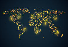 Bright glowing map on dark blue background Stock Images