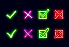 Bright glowing neon mark X and V. Set of green neon hooks and red neon crosses. Yes and No icons for websites Stock Images