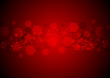 Bright glowing red hexagons vector tech background Stock Photos