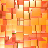 Bright Glowing Red And Orange Background With Artistic Cubes Or Stock Photography
