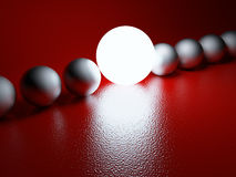 Bright glowing sphere in a row. Leadership concept. 3D illustration Stock Photography