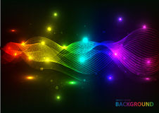 Bright glowing waves dark background Stock Images