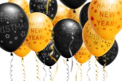 Bright gold and black balloons 2018, Christmas, New Year Balloon with glitter on white background. Isolated. Ballon. Inscriptions. Christmas and new year Stock Image